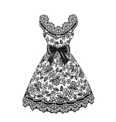 Lace black dress vector