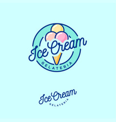 logo ice cream green three scoops vector image