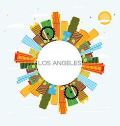 Los angeles skyline with color buildings blue sky vector
