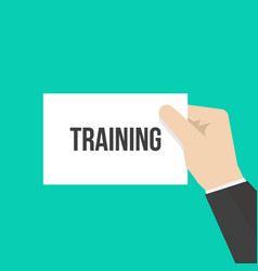 man showing paper training text vector image
