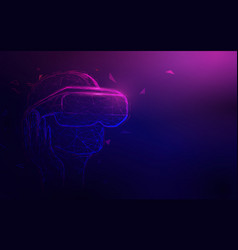 man wearing virtual reality headset with neon vector image