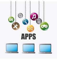 Mobile applications and technology icons design vector image