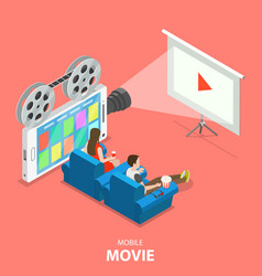 mobile movie flat isometric concept vector image