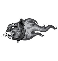 monochromatic jaguar flame tattoo vector image
