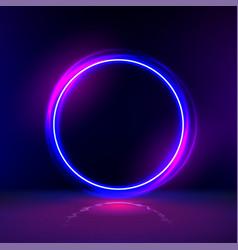 Neon gloving ring in dark room round light vector