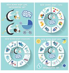 new born baboy circle infographic set vector image