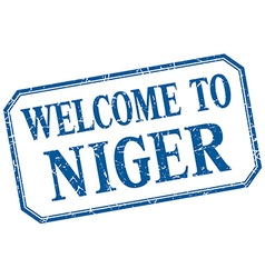 Niger - welcome blue vintage isolated label vector
