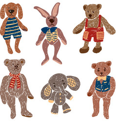 Old stuffed toys vector