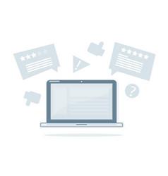 Online reviews laptop vector