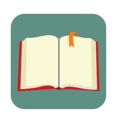 Opened blank book with bookmark flat icon vector image