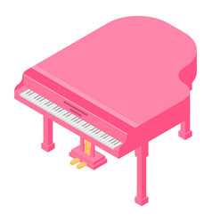 pink grand piano icon isometric style vector image