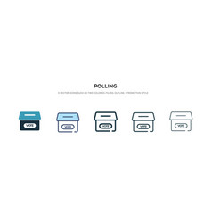 Polling icon in different style two colored and vector