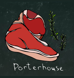 Porterhouse steak cut and rosemary isolated vector