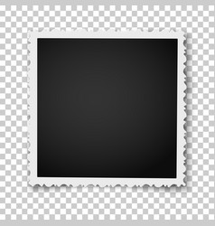 retro square photo frame with figured edges vector image