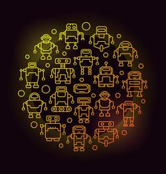 Robots circular yellow outline vector