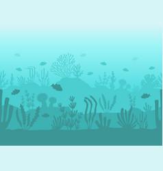 seamless ocean bottom underwater coral reef vector image