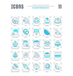 set blue line icons flour products vector image
