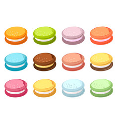 Set colored macaroons vector
