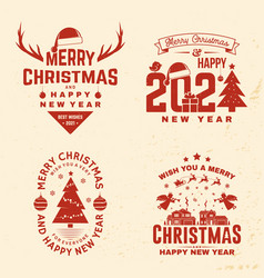 Set merry christmas and happy new year stamp vector