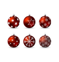 set of 3d christmas balls with winter ornament vector image