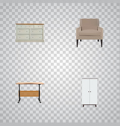 set of design realistic symbols with armchair vector image