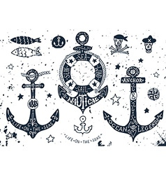 Set of hand drawn anchors vector image vector image