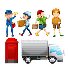 set of mail delivery vector image