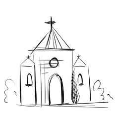 simple black and white sketch a church on vector image