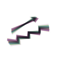 Stair with arrow colorful icon shaked vector