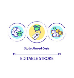 Study abroad costs concept icon vector