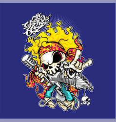 The skeleton is playing rock music vector