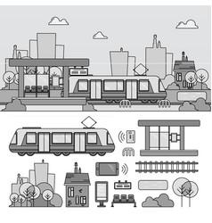 tram on street line monochrome vector image