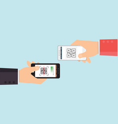 two hand holding mobile phone to scanning qr code vector image