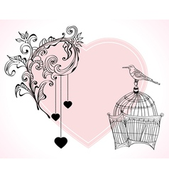 Valentines card with cage vector image