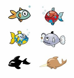 Various Cute Fishes Collection vector image