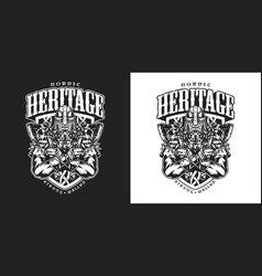 viking vintage badge vector image