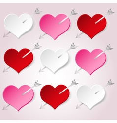 White red and pink valentine hearths with arrow vector