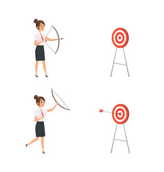 Woman shooting target business lady win manager vector