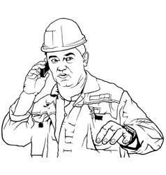 Worker in work suit calls vector