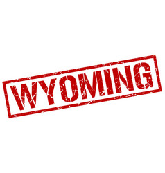 Wyoming red square stamp vector