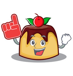 foam finger pudding character cartoon style vector image