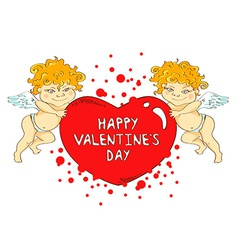 Funny cartoon cupids holding big heart vector image vector image