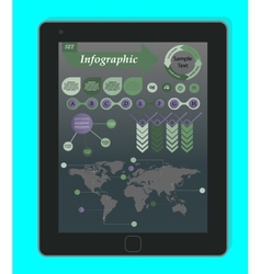 Infographics Concept on a black Tablet PC Template vector image