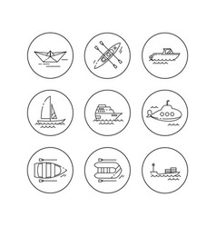 linear flat icons water transport vector image vector image