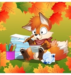 Little Fox doing his school homework vector image vector image