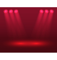 Red lights on the stage vector image