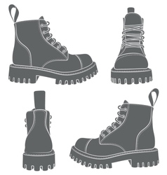 set of drawings with boots vector image