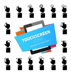 Touch Gestures Icons Black vector image
