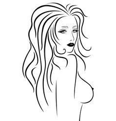 Abstract beautiful woman with a naked breast vector image vector image
