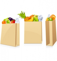 grocery shopping bags vector image vector image